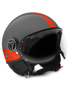 Casco Momo Design Fighter Fluo Gris Letras Naranja Fluor