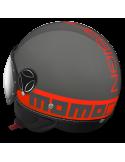 Casco Momo Design Fighter Fluo Gris Letras Naranja Fluor