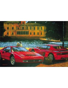 Litografia Ferrari 328GTB and Testarossa with Riva Aquarama - Barry Rowe