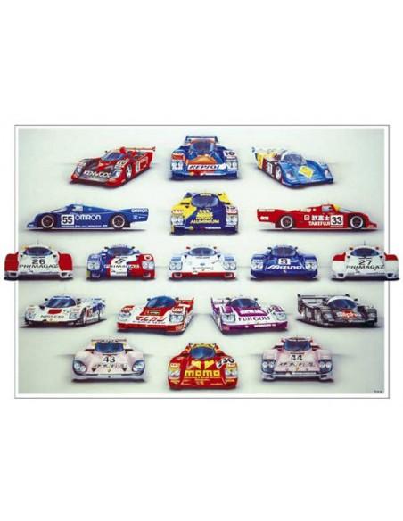Litografia Porsche At Le Mans 1990 - Rosemary Hutchings