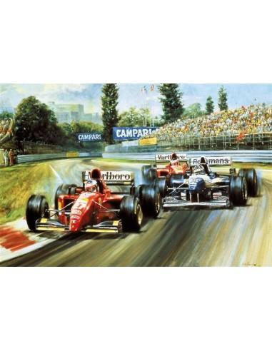 Litografia Alesi Ferrari 105 - Jean Alesi - Alan Fearnley