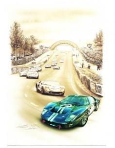 Litografia Ford GT40 Le Mans 1966 - François Bruere