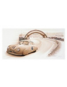 Litografia Porsche 356 Le Mans 1951 - François Bruere