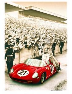 Litografia Ferrari 250 P Le Mans 1963 - Francois Bruere