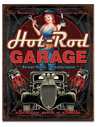 Placa Hot Rod Garage Pistons