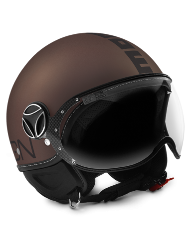 Casco Momo Design Fighter EVO Tabaco Mate Letra Negro