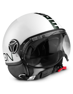 Casco Momo Design Fighter Classic Blanco Brillo Letras Negro