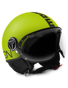 Casco Momo Design Fighter Fluo Amarillo Mate Letras Negro